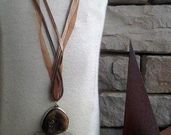 Deep Brown Druzy Pendant Necklace