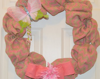 SALE!!!! Burlap Spring Wreath