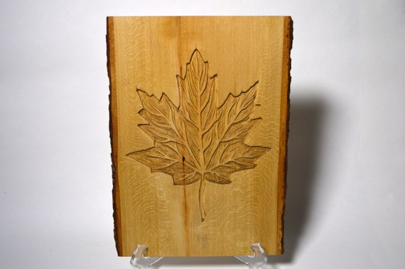 Maple leaf wood carving