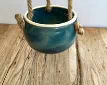 Blue and green ceramic hanging planter for indoor or outdoor ready to gift or use.