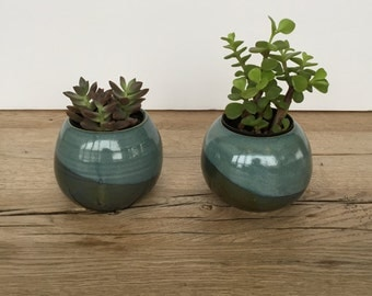 Handmade small blue and green ceramic round planter ready to gift or use. Plant pot.Succulent or cactus planter.