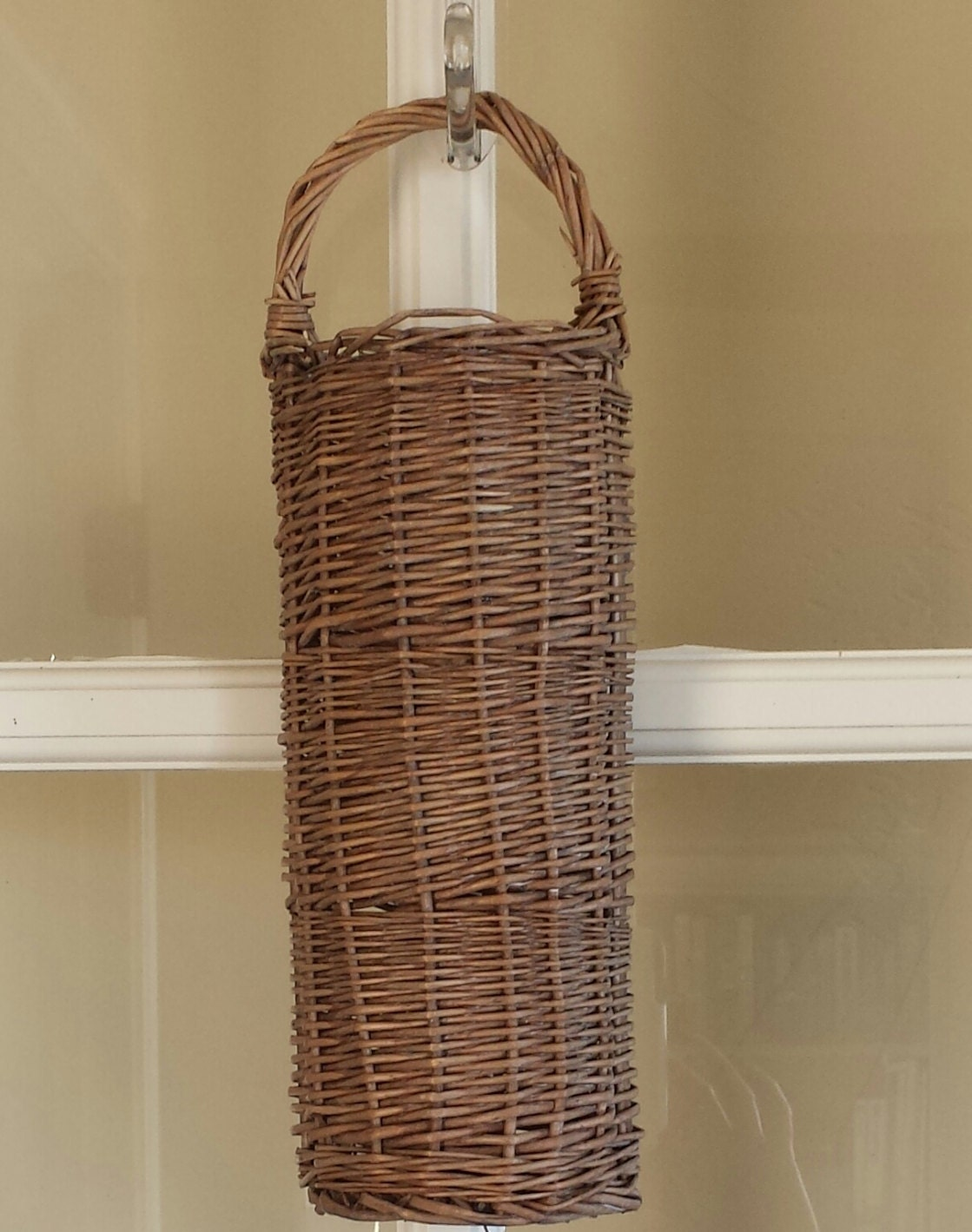 Wall basket narrow hanging rustic wall basket cottage chic