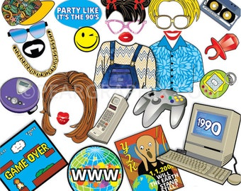90s Photo Booth Props / 90s Party Props Nineties Era / 90s Themed Photobooth 90s Grunge Rave Hip Hop / 26pc Printable PDF ▷ Instant Download
