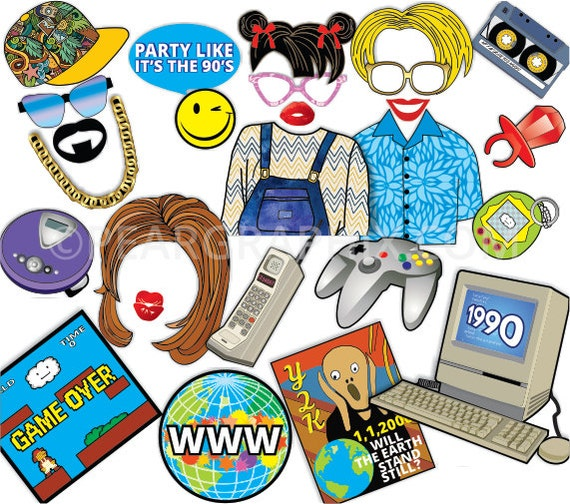 90s photo booth props 90s party props nineties era 90s for 90 s party decoration ideas