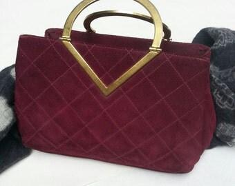 Suede Handbag, Vintage Handbag, 1971