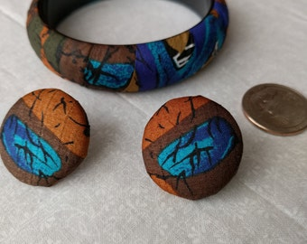 Fabric Bracelet and Earrings, Multicolored, Colorful, Vintage