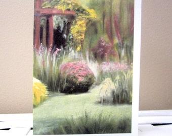 Blank 4x6 Garden Greeting/Note Card, Chanticleer Pergola in Spring/Summer, Cropped Print of Original Oil Painting, Envelope/CellophaneSleeve