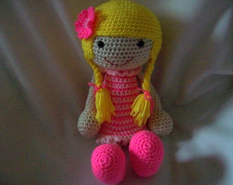 17 inch hand crochet Doll with pink dress safe for all ages