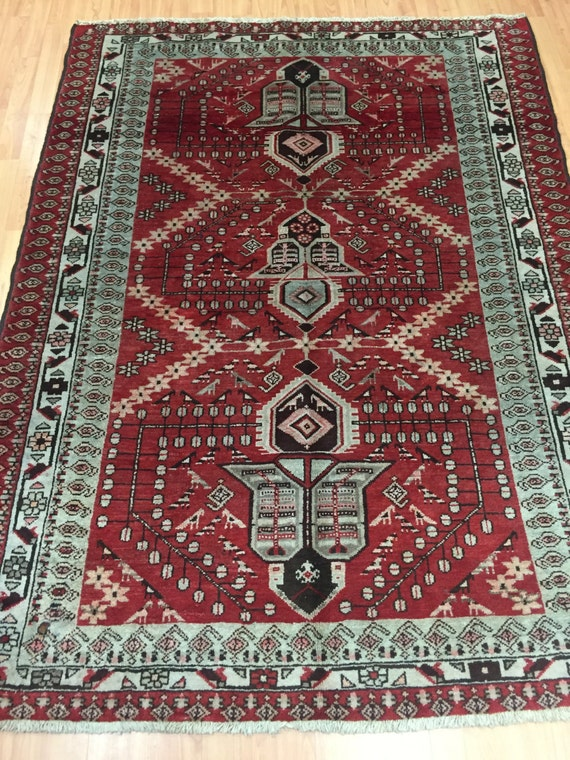 "4'5"" x 6'1"" Antique Persian Hamadan Oriental Rug - 1930s - Hand Made - 100% Wool"