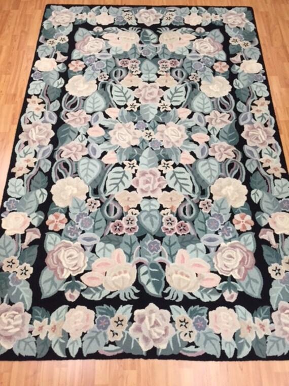"5'5"" x 8'5"" Chinese Floral Stitch Work Oriental Rug - Hand Made - 100% Wool"