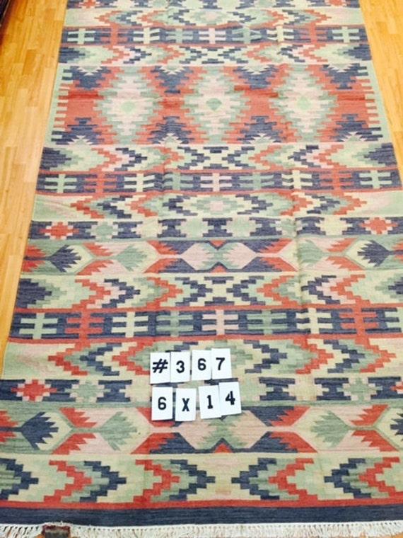6' x 14' Turkish Kilim Oriental Rug - Gallery Sized - Hand Made - 100% Wool