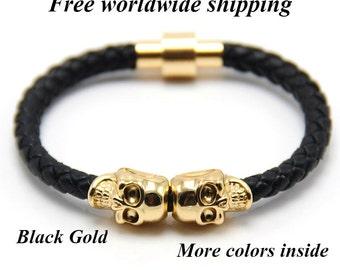 Wrap Leather Bracelet, Skull Bracelet, Women Leather Bracelet