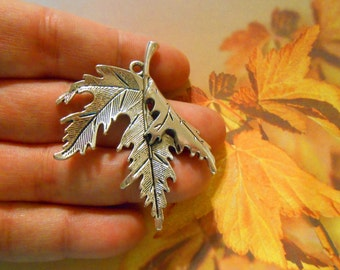 LARGE Silver leaf pendant Maple leaf Fall jewelry Autumn jewelry Nature jewelry Leaf charms Leaf necklace Canada charms DIY Jewelry supplies