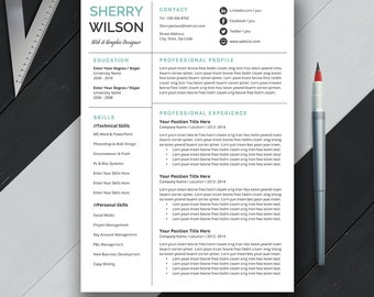 Professional Resume Template, CV Template, Cover Letter, US Letter, A4, Word, Modern Simple Professional Resume, Instant Download, 'SHERRY'
