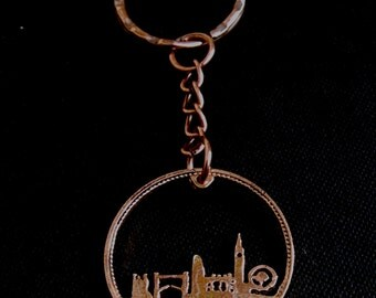 London Skyline Tower Bridge London Eye River Thames Cut Coin Key Fob British Penny Birthday Date of Choice 1937 - 1967 Birthday/Anniversary