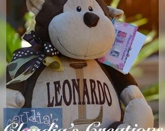 "16"" Embroidered Monkey Plush. Personalized, baby, baptism, shower, birthday,"