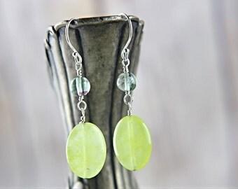 Yellow gemstone and fluorite green beads sterling silver earrings, yellow and green beads earrings