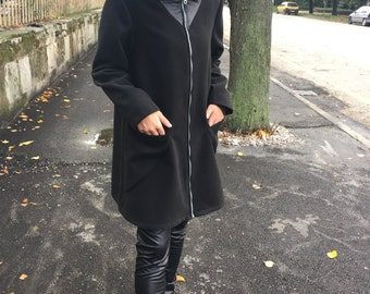 Short Black Coat, Hooded Coat, Black Hoodie, Faux Leather Coat, Cape Coat, Black Cape, Wide Coat, Plus Size Cape, Oversized Jacket