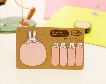 Kohem: Memo & Sticky / Pink Bunny Rabbit / Cute Kawaii Memo Pad and Sticky Notes / Stationery / Stationary / School Supplies / Bookmark Tabs