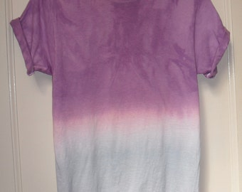 Tie Dye T-Shirt acid wash ombre  T-shirt hipster festival grunge Retro 90s LILAC BLUE indie OMBRE dip dye unisex rave skate top