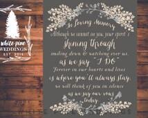 PRINTABLE Wedding MEMORIAL Sign,  In Loving Memory, Remembrance Sign, Winter wedding, Sentimental memorial sign, grey wedding, gray, ivory