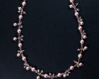 Swarovski Rose Pink Pearl Necklace