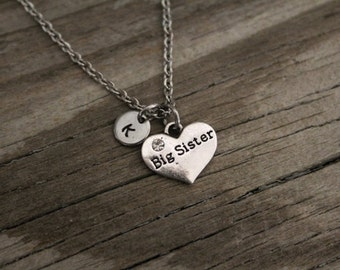 Big Sister Necklace - Big Sister Gift - New Big Sister - Baby Announcement - Carved - Initial or Bead