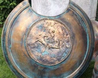 Ancient Shield Replica Greek Shield Larp Shield Armor Props Antique Armor Cosplay Props Ancient Weapons Bronze Metal Sculpture Art Collector