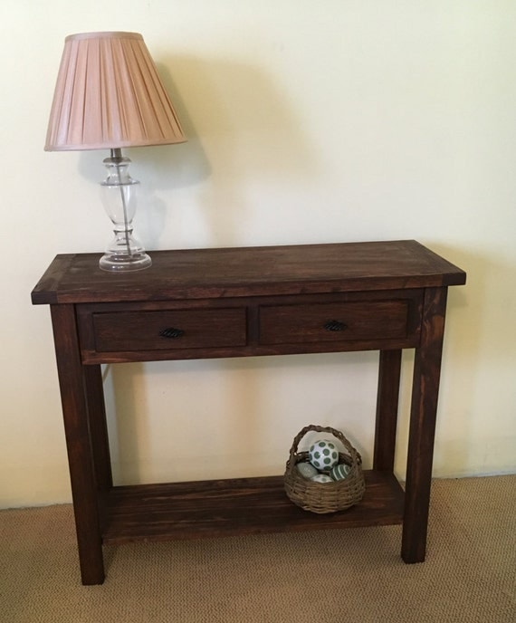 Solid Wood Sofa Table ~ Rustic solid wood console handmade sofa table