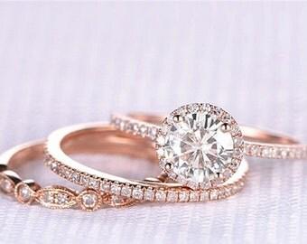 Round Moissanite, Halo Engagement Ring, Rose Gold Art Deco, Wedding set,  Moissanite Wedding set, Diamond, Rose Gold, Halo Diamond