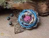 Fabric Brooch. Flower Corsage Pin Brooch, Handmade, Lagenlook, Shawl Pin, Crochet Flower Pin