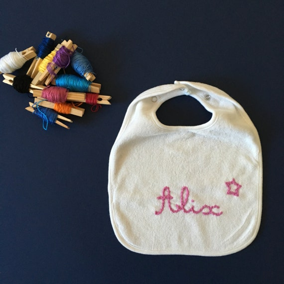 Bib infant / / white bib / / personalized gift / / hand embroidery / / embroidered name / / gift birth / / Crown / / custom