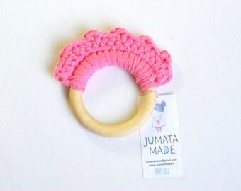 Pink baby girl maple teething ring / crochet wooden teether / wooden teething toys / teething toys / Pink toys / organic toys