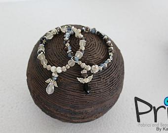 Set of two Black and white bead Bracelet Handmade Jewelry Bracelets Beaded Angel Bracelets Angel Charm P24