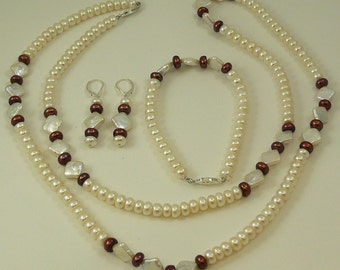 Freshwater White and Brown Pearl Necklace,Bracelet and Earring Set Silver Clasp