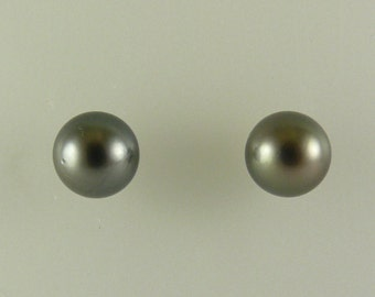 Tahitian Black 9.6 mm Pearl Stud Earrings 14K White Gold Post and Push Back