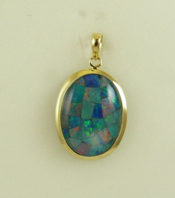 Mosaic 13 mm x 18 mm Opal Pendant, 14k Yellow Gold
