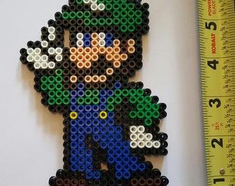 LUIGI Smash Brothers/Mario Brothers Bead Sprite + Lanyard