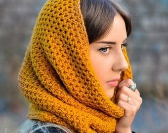 Women's Knit Scarf  Infinity - Chunky Scarf - Hood
