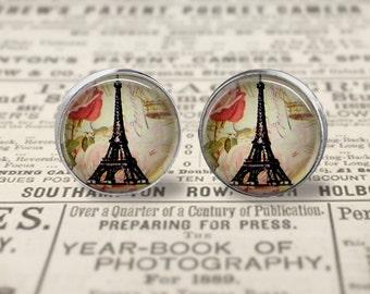 Eiffel Tower Earrings, Large 16mm Stud Earrings or Dangle Earrings, Eiffel Tower Jewelry, Picture Earrings, Paris Jewelry, Paris Earrings