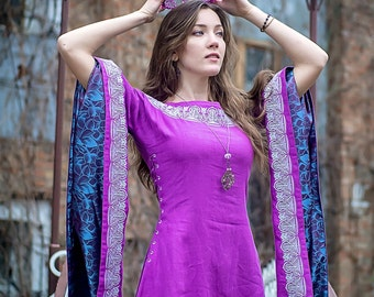"Medieval lilac linen long dress ""Violet""."