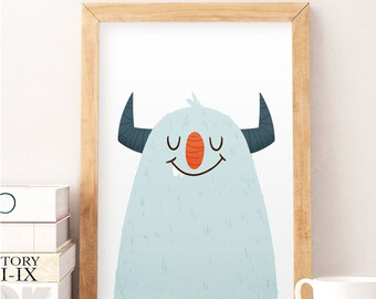 Monster Nursery Decor, Blue Nursery, Boy Nursery, Boys Room Art, Nursery Print, Cute nursery art, Kids illustration, Cute monster, Wall art