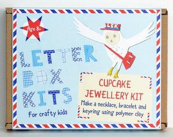 Cupcake Childrens Craft Kit - Jewellery Making Kit - Craft Kit for Kids - DIY Craft Kit