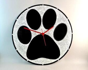Dog Paws, Wall clock, Vinyl Clock, Upcycled, Black & White, Vinyl Record Wall Décor, InsaneDotting