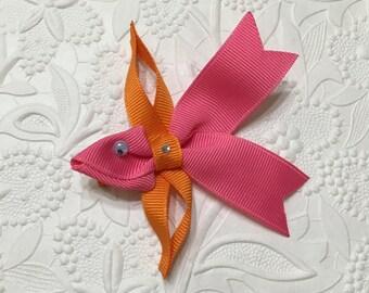 Bright Pink Goldfish Ribbon Sculpture Hair Clip (RS-10). Little Fish Hair Clip, Fish Hair Bow