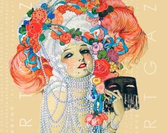FLAMBOYANT FLAPPER Lady In Marie Antoinette Fashion Art DECO Rare Homer Conant illustration Vintage Print Flapper Digital Download