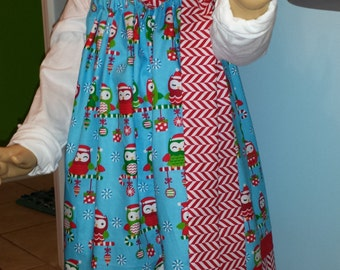 Girls Christmas print pillowcase dress.