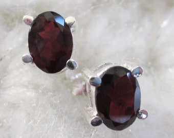 Luscious Red Garnet, Oval Stud Earrings