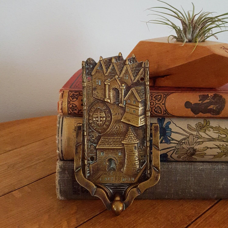 Antique solid brass door knocker inscribed bathon florrat - Vintage brass door knocker ...