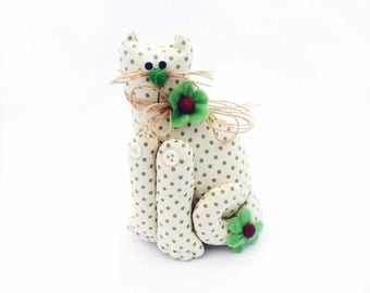 Cat ornament. Fabric cat decoration.